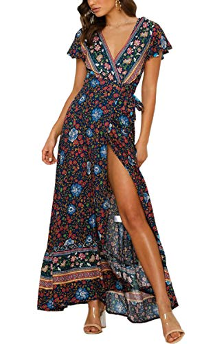 ECOWISH Damen Kleider Boho Sommerkleid V-Ausschnitt Maxikleid Kurzarm Strandkleid Lang mit Schlitz Schwarz Blau M