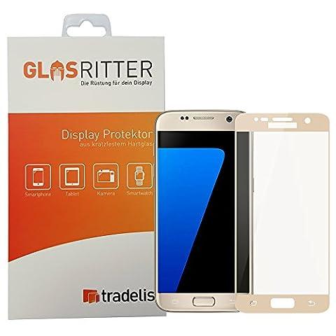Tradelis Panzerglas-Display-Schutz Fullcover für Samsung Galaxy S7 (G930F), Härte 8-9 H, getönte Screen-Umfassung in