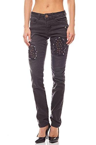 Arizona Hose Stretchjeans Damen Destroyed Jeans Denim Schwarz, Größenauswahl:38 (Jeans Arizona)