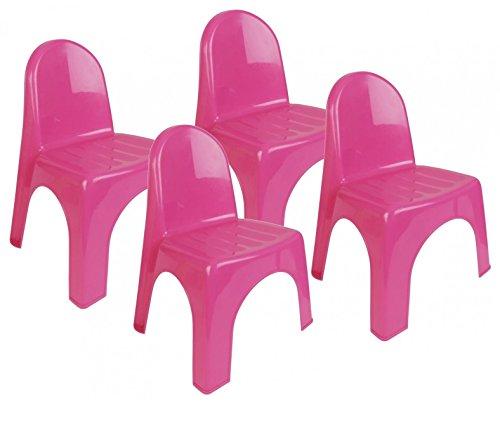 4x Kinderstuhl Garten Kunststoff Stuhl Stapelstuhl Kinder Möbel Kinderzimmer (Pink)