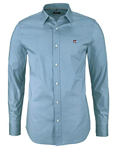 Kuson Herren Business Hemd Slim Fit für Freizeit Hochzeit Reine Farbe Hemden Langarmhemd Himmelblau XL
