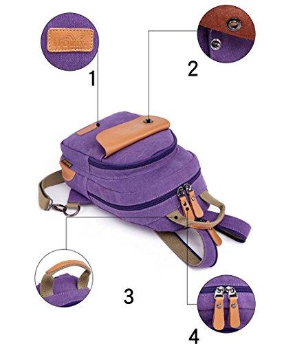 F@Männer und Frauen Rucksack Schulter Brustbeutel, Multifunktions-Schulter-Kurier Tasche männlichen und weiblichen Paar kleiner Teil Purple