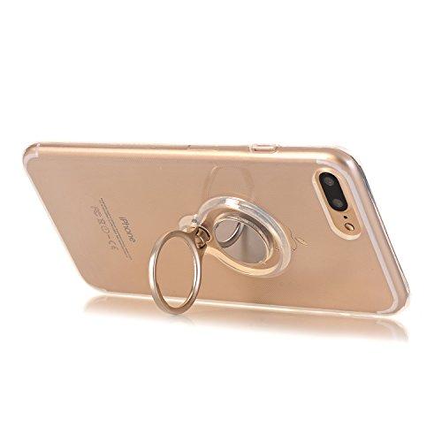iPhone 7 Plus 5.5 Hülle, Voguecase Multifunktions-Abdeckung mit drehbarem Ring Halter Ständer für magnetischen Auto Mount Halter, Kickstand Case Schutzhülle / Case / Cover / Hülle / TPU Gel Skin für A transparent