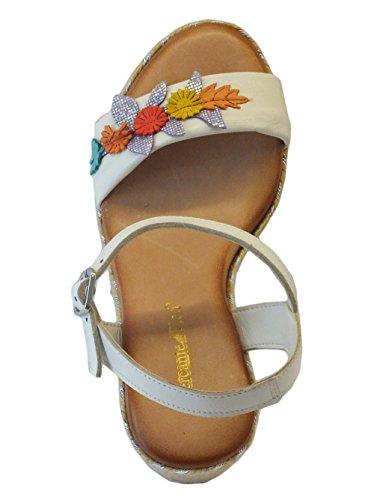 Sandali Mercante di Fiori in pelle bianca con zeppa in corda beige ergento Bianco