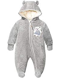 Vine Bebé Traje de Nieve Ropa de Invierno Footed Peleles Niños Niñas Cálido Fleece Mameluco con Capucha