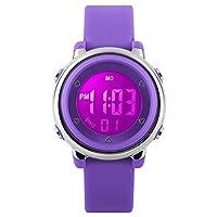 Kinderen digitale sporthorloges - meisjes 5 bar waterdicht horloges sporthorloge met wekker, stopwatch polshorloge met 7 LED-achtergrondverlichting voor kinderen