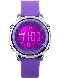 Relojes deportivos digitales para niñas Yesure. Reloj deportivo impermeable de 5 ATM con cronómetro de alarma, 7 luces traseras LED