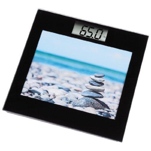 Xavax Digitale Personenwaage für Körpergewicht, Integrierter Bilderrahmen und Uhrzeitanzeige, Picta, Schwarz