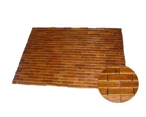 Badematte Saunamatte Holz Badteppich Bambus Holzmatte Badvorleger Teak 60 x 90 cm dunkelbraun Typ G