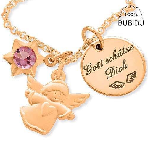 Taufkette rosegold Kinder  Engel Schmuck Engelkette Gravur Schutzengel Rotgold  Kinderkette Mädchen Taufe Gravur Namenskette personalisiert Taufschmuck | HANDMADE...