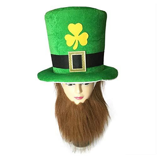 Traje del día de San Patricio Sombrero de copa y barba de duende verde c036cb2c837