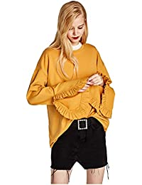 TOOGOO(R) Women's New Fashion O-neck Long Sleeve Sweatshirt Casual Loose Ruffle Female Pullover Chic Pullover Sweatshirt(Yellow, M/US-4~6/UK-8~10)