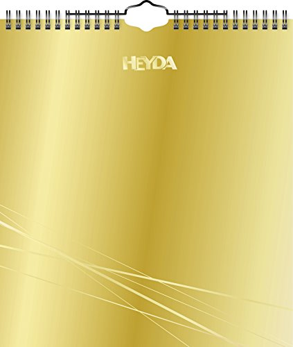 Heyda 2070457 Bastel-/Kreativkalender, 13 Monatsblätter, 215 x 240 mm, Kalendarium immerwährend, Wire-O-Bindung mit Aufhänger, Deckblatt gold, Monatsblätter schwarz