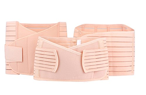 Vogue of Eden Women's Thick Three-piece Maternity Re-Shaping Abdominal Support Belt Stripe