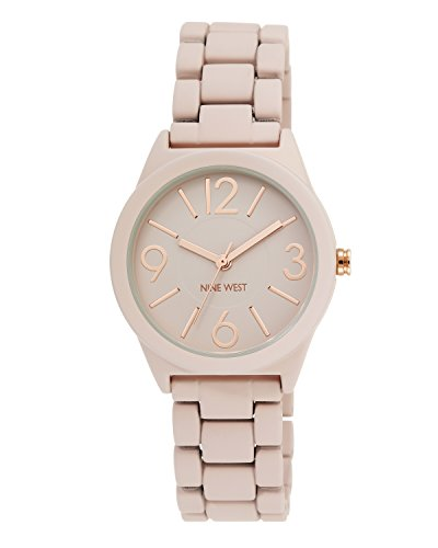 nine-west-damen-quarzuhr-mit-rosa-zifferblatt-analog-anzeige-und-rosa-legierung-armband-nw-1812pkrg