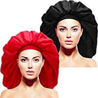2 Pieces Extra Large Sleep Cap Jumbo Day and Night Cap Large Satin Bonnet with Comfort Elastic Band, Color Set 1, Medium