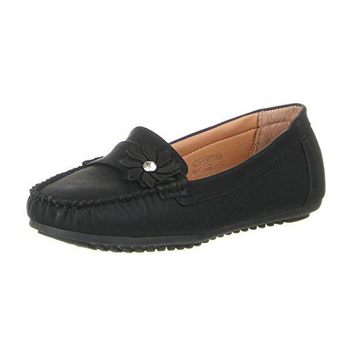 Damen Schuhe, B807-BL, MOKASSINS Schwarz