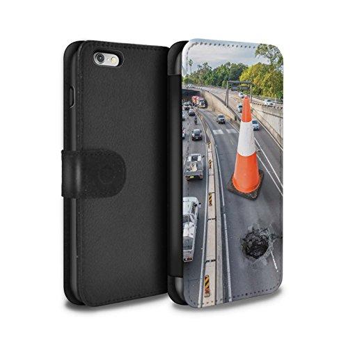 Stuff4 Coque/Etui/Housse Cuir PU Case/Cover pour Apple iPhone 6+/Plus 5.5 / Météore Design / Vers Bas Sous Collection Travaux Routiers