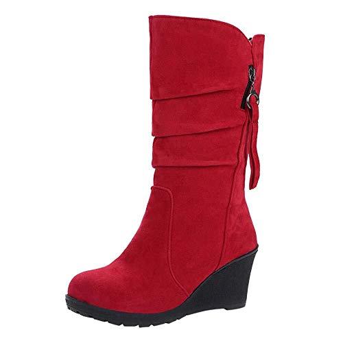 Caren Frauen Winter Keil Kniehohe Stiefel PU Leder Slip-On Round Toe Reitstiefel Winter High Heel Stiefel (Color : Rot, Size : 38 EU) -