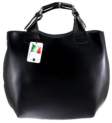 CTM femme sac à main et épaule, 44x30x13cm, 100% cuir véritable Made in Italy