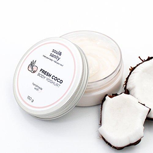 Body Yoghurt FRESH COCO (Bodylotion) von soul&sanity - für feuchtigkeitsspendende Hautpflege mit Kokosnuss | Body Cream | Feuchtigkeitscreme | 150g
