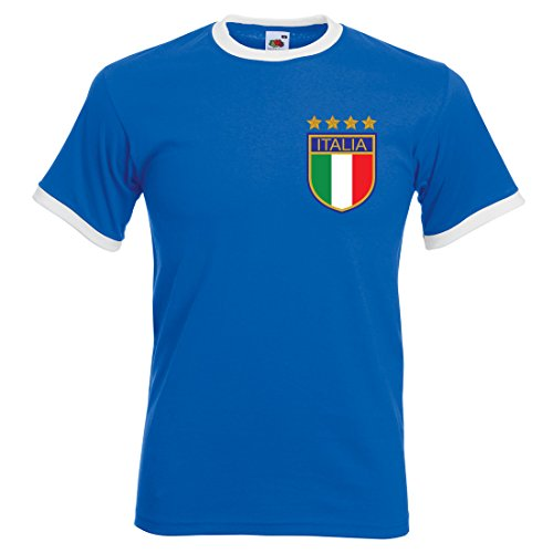 Herren Roberto Baggio Italien Retro Fußball T-Shirt Gr. X-Large, Royal Blue/White