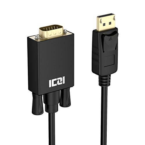 ICZI DisplayPort auf VGA Kabel (Male zu Male, vergoldet Stecker, 1080p) Adapter, für der Monitor mit VGA Buchse anschließen, Schwarz (3m)