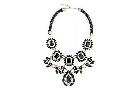 Damen Statement Halskette Schwarz Daisy Statement Anhänger Fashion Style Jewelry