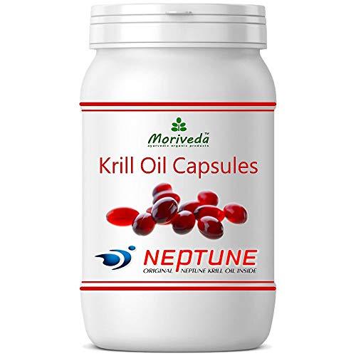 Krillöl Kapseln 90, 100% reines NEPTUNE Premium Krill Öl - Omega 3,6,9 Astaxanthin, Phospholipide, Choline, Vitamin-E - Markenqualität von MoriVeda (1x90)