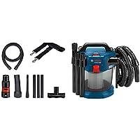 Bosch Professional Akku-Staubsauger GAS 18V-10 L (ohne Akku und Ladegerät, Flachfaltenfilter, Bodendüse, Fugendüse, Volumenstrom max. (Turbine): 24 l/sec, 1,6 m Schlauch, 18 Volt System)
