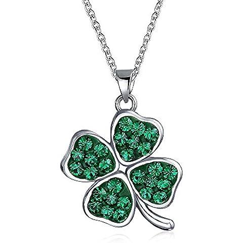 Bling Jewelry Verde Plata Esterlina Cristal Swarovski Colgante Trébol 4 Hoja 16 en