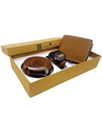 XPRA Analog Watch, Brown PU Leather Belt & Brown Leather Wallet For Men/Boys Combo (Pack Of 3) - (WL-3CMB-9)