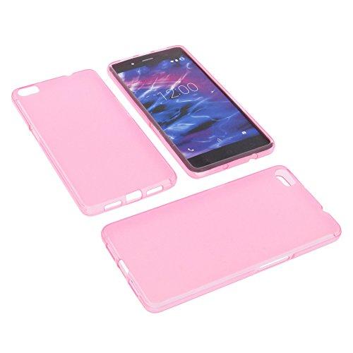 foto-kontor Tasche für MEDION Life S5004 Gummi TPU Schutz Handytasche pink
