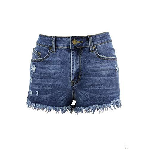 QinMMROPA Vaqueros Rotos Cortos para Mujer y niña, Pantalones Cortos Ajustados Boyfriends Rotos Short Jeans Mujeres Sexy Pantalon Azul S