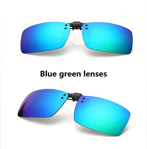 Z&YQ Unisex Sonnenbrille Clip Auf Nachtsicht Polarisierte Gläser Anti-Glare UV400 Polarisierter Flip-Up UV-Schutz Männer Frauen Mode Bunte,Randlose Kurzsichtig Brille Klipp,Bluegreen,S