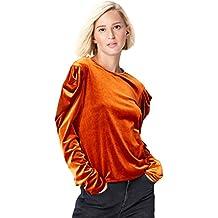 FIND Damen Langarmshirt Two Tone Velvet Pleat Sleeve