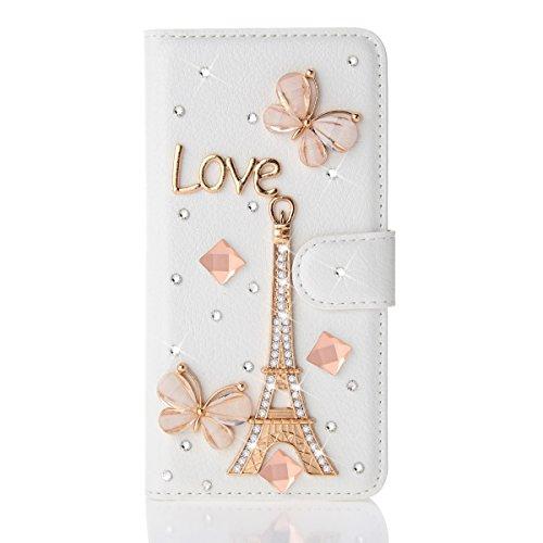 iPhone X Handycover, MOONMINI für iPhone X Bling Diamond Rhinestones PU Leder Brieftasche Hülle mit Flip Stand Funktion und Kartensteckplätze Magnetverschluss Engel Blume Eiffelturm