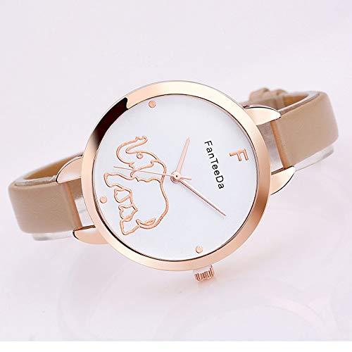 creatspaceDE Karikatur-Elefant-Frauen-Uhr-Luxusmarken-Frauen-beiläufige große runde Metallvorwahlknopf-Armbanduhr-Damen-Lederarmband-Quarzuhr Farbe: beige