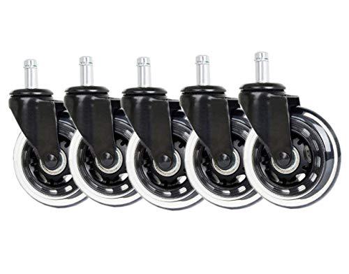 FEIRAN 5 rotelle per Sedia da Ufficio, 11 mm, 22 mm, Colore: Nero