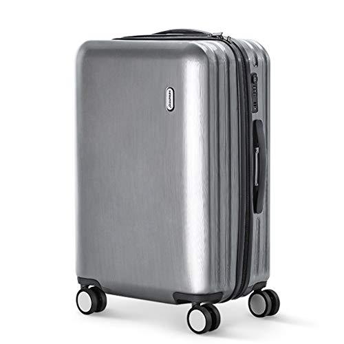 Kratzfester Trolley Universal Rad Travel Box Silber Koffer Weibliche Pure PC Einstieg Mann 24 Zoll (Farbe : Silber, größe : 24 inches)