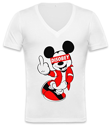 DISOBEY Mickey Mouse Unisex Deep V-neck T-shirt Medium