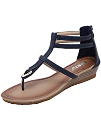 Vectry Sandalen Damen Absatz Plateau Flach Keilabsatz Schuhe Sommer  Damenschuhe Gladiator Leder - Flache Schuhe Bohemia 8d105589f5