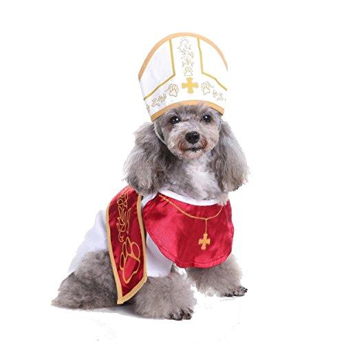 (Glamour Girlz Funny Hund Katze weiß & Rot Priester Papst Klerus weiß Heiligen Kirche Bademantel Outfit & Hut Halloween-Kostüm)