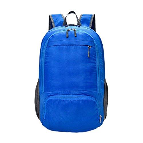Longra Zaino pieghevole per zaino da viaggio per scuola di viaggio con cerniera impermeabile impermeabilizzante Blu