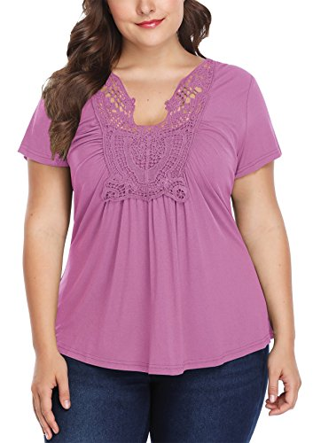 MISS MOLY Shirt Damen Große Größen Oberteile V Ausschnitt Tuniken Tunika Hell Violett XXX-Large