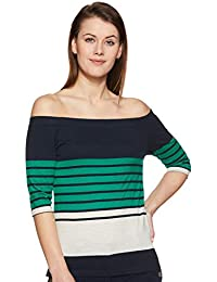 f61d22243f8 Miss Chase Womens Multicolour Striped Off Shoulder Top