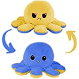 babaPLUSH Octopus Reversible Plushie Plush Emotion Mood Octopus Toy Flip Moody Happy Sad Angry Inside Out (Blue-Yellow)