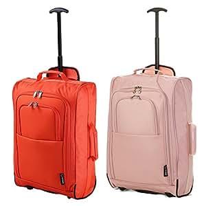 """Set di 2 21""""/55cm 5 Cities cabina Approvato mano bagaglio leggero sacchetti del carrello per Ryanair/Easyjet (Arancia + Oro Rosa)"""