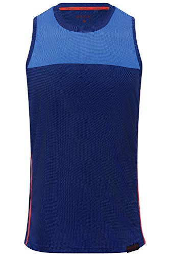 Sundried Herren Lauf Vest Ärmel Gym Training Technischen Tank Top (M, Blau)
