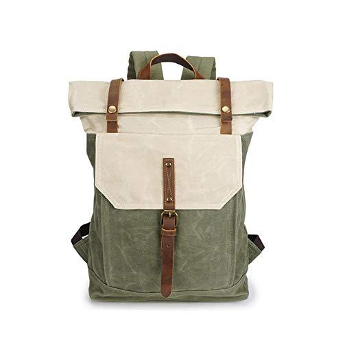 Yoome 15,6 Zoll Laptoptasche Leinwand Vintage Rucksack Leder Casual Bookbag Männer Rucksack Schultasche - Weiß (Rucksack Herren Canvas Gewachstem)